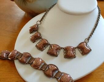 Vintage Copper and Lucite Goldstone Necklace and Bracelet SET Demi Parure 1940 Original
