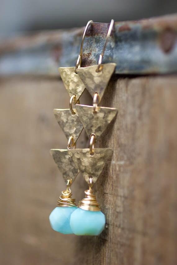 Dangly Earring, Peruvian Opal, Geometric Jewelry, Earrings, Pale Blue