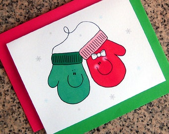 red green mittens pair our first christmas holiday cards (blank or custom printed insides) with red or green envelopes - set of 10