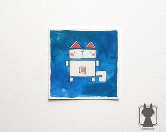 Small cat picture - original illustration with robot cat - crazy cat lady art
