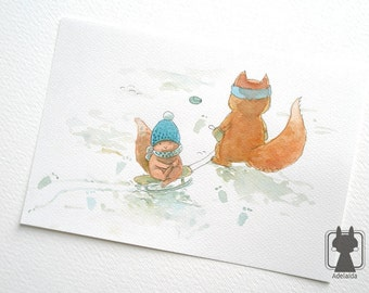 Winter art - fox on sled, sledges - fox art - watercolor animal illustration