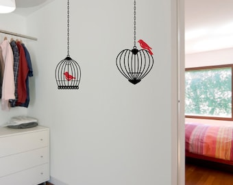 Birds and Cages - Set of 2 - Vinyl Wall Decals