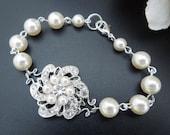 Pearl Bracelet, Pearl Bridal Bracelet, Bridal Bracelet, Wedding Pearl Bracelet,Swarovski Pearl,Pearl Rhinestone Bracelet,Pearl, Cuff, AMELIA