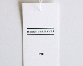 Merry Christmas - Set of 10 Letterpress Gift Tags