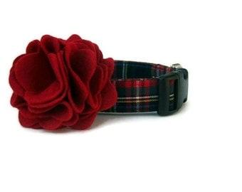 Plaid Dog Collar and Flower Accessory - Kensington Plaid - Black Hardware