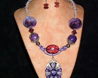 Hemp Necklace K19 Queen of Hearts