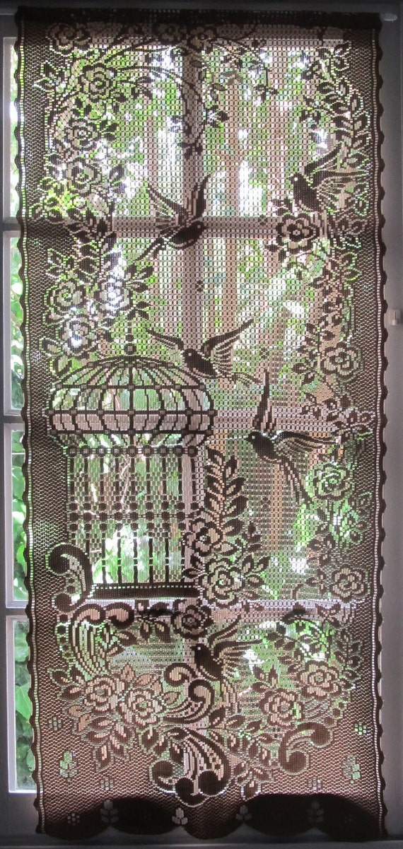 Brown lace curtain french window curtain bird by linenandletters