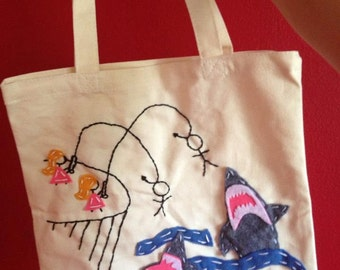 Tote Bag, Girls Feeding Boys to the Sharks, Custom, with felt and embroidered, shark week
