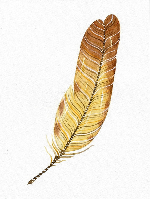 Original Watercolor Painting - Feather No.12 -  Art by Lorisworld