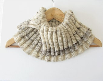 wool knitted cowl, earth tones circular scarf