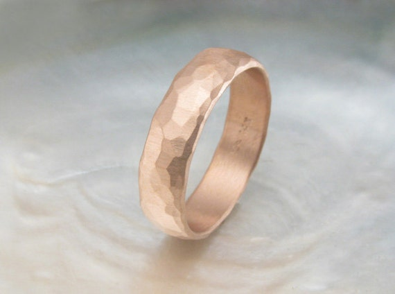 Men S Wedding Band Rustic Rose Gold Wedding Ring By