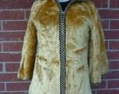 1970's Spanish Tan Sheepskin Hooded Jacket Size 2