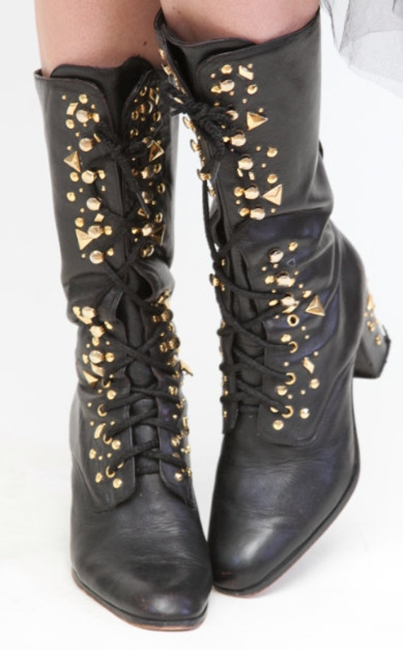 80s black boots with gold studs