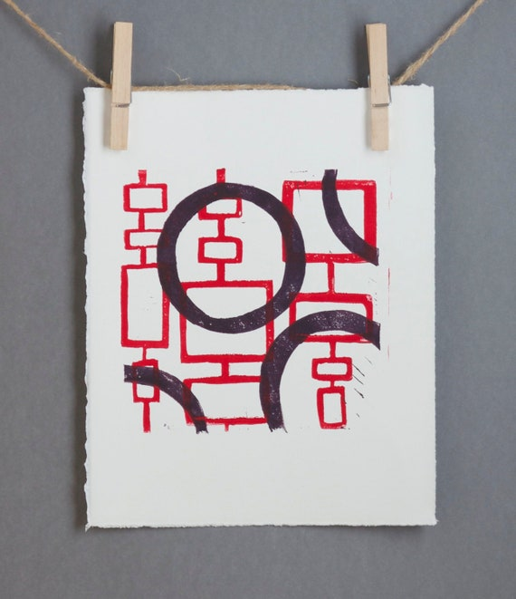 Abstract Mid Century Modern linogravure Print in Red and Purple 8 x 10