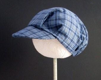 Toddler Dark Blue Hat -  Handmade Plaid Hat - Infants Blue Cap - Little Boys Baseball Style Cap - Newsboy Style Hat - Size Sm, M, L  or XL