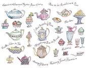 Retro Kitchen, Tea Print, Tea rooms in Paris, Teapot poster, Kitchen decor, French art, 8X10, pastel, cup of tea