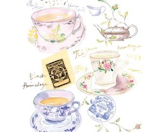 Blue tea print, Watercolor tea cup painting, Tea poster, Kitchen print, 8X10 home decor, Tea art, Kitchen wall art, Blue decor, Tea painting