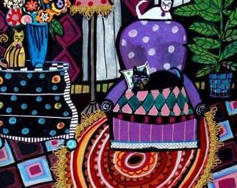 60% Off- Cat Art  Print   CAT FOLK ART Harlequin Art  Print