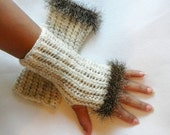 Crocheted Fingerless Gloves with Eyelash Trim in Cream and Brown