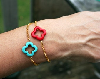 TURQUOISE lucky clover gold plated bracelet stone blue chain gift red boho for her friendship bridesmaids wedding yellow purple pink neon