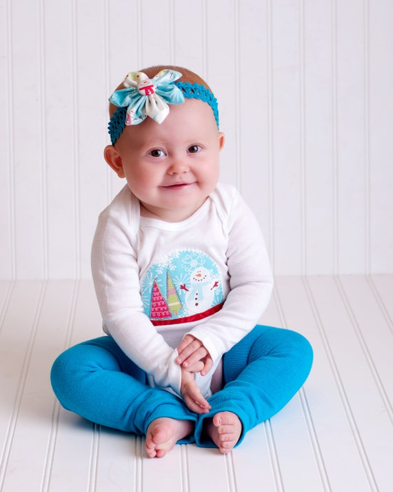 Snow Globe Baby Girl Onesie with Matching Head Band  (Custom Size)