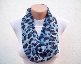 Infinity Scarf, Leopard Scarves, Loop Accessories, Chiffon Circle Scarf, Neckwarmer, Women Fashion, White, Black, Blue