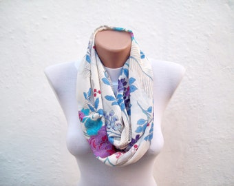 Flower scarf,infinity scarf,Loop scarf,Circle scarf,Neckwarmer,Necklace scarf