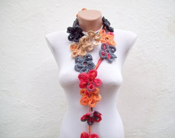 Skinny Crochet Scarf, Lariat Scarves, Flower  Jewellery, Long Necklace, Crocheted Accessories, Autumn,Christmas Gift, Red Orange Brown Black