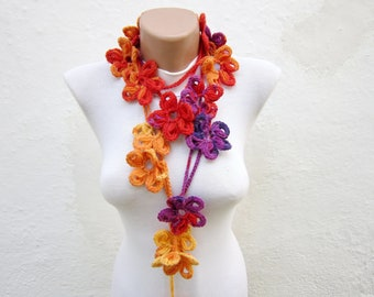 Scarf Crochet, Crochet Lariat Scarves, Flower Colorful, Floral Jewelry, Neck Accessories, Crocheted Necklace, Purple Red Orange Yellow
