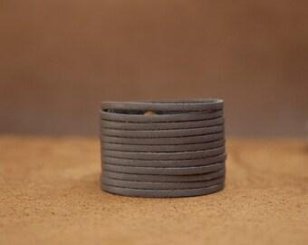 Grey Leather Cuff, Multi Strand Women's Bracelet