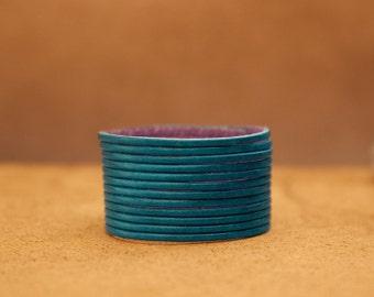Teal Blue Multi-strand Women's Leather Cuff Bracelet