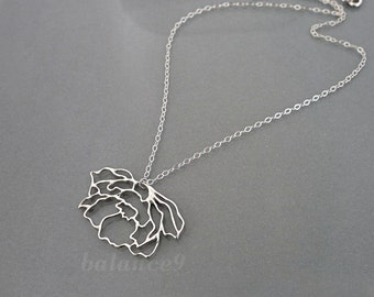 Peony flower necklace, Sterling Silver Filigree Charm Pendant, delicate everyday jewelry, holidays gift, by balance9