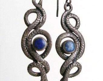 HUGE FLASH SALE Sterling Silver Snake Earrings w Lapis Lazuli
