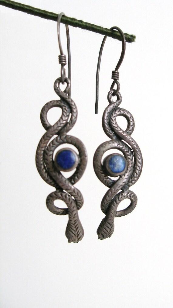 Sterling Silver Snake Earrings w Lapis Lazuli