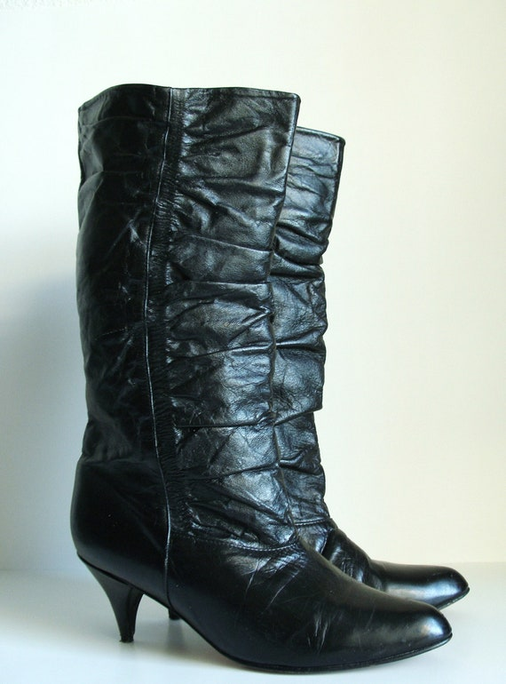 vintage black leather boots ruched slouchy almost knee high