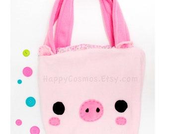 Pig Tote Bag - Schoolbag, Backpack, Bookbag, Animal Tote Bag, Reusable Bag, Beach Bag, Colorful Handmade Tote, Women's Tote, Christmas Gift