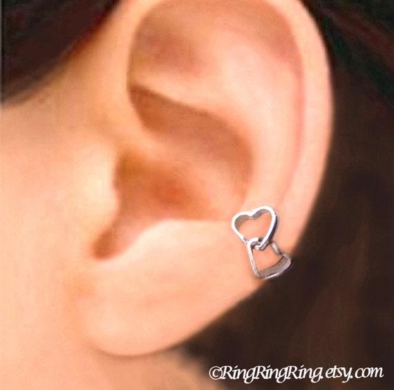 Double love heart ear cuff, Sterling Silver Ear Cuffs earring jewelry, earcuff clip, Left,