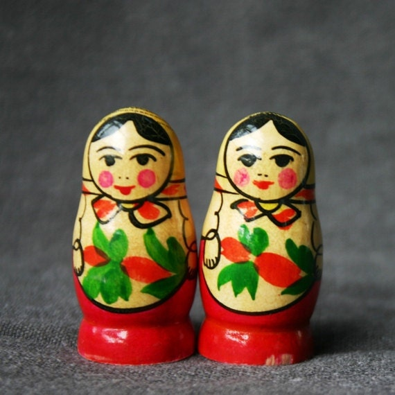 Twin sisters. Two little matryoshkas dolls.
