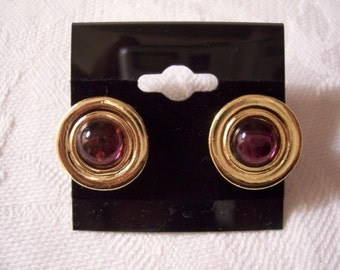 Purple Clear Lucite Bead Dics Pierced Post Stud Earrings Gold Tone Vintage Avon Round Rimmed Edges Brushed Backs