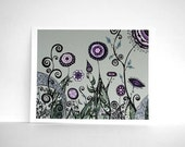 Hand-Drawn Garden Landscape in Sage Green, Lavender, Plum Purple and Teal - Pen Line Drawing of Flowers and Swirls 8x10 Print