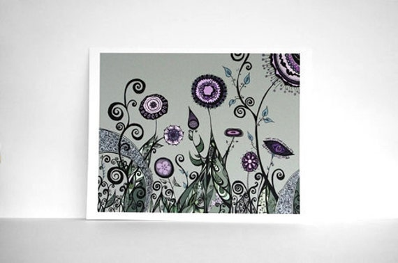 60% OFF SALE:  Hand-Drawn Garden Landscape in Sage Green, Lavender, Plum Purple and Teal - Pen Line Drawing of Flowers and Swirls 8x10 Print