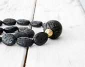 Black Lava Rock Necklace, Santorini Jewelry, Carved Wood Focal Bead, Gold and Black Jewelry, One-of-a-kind Necklace, Statement Necklace