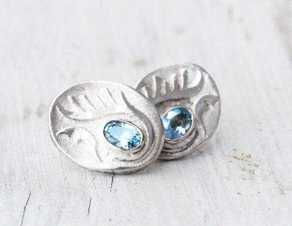 Sky Blue Topaz Earrings, Sterling Silver Ear Studs, Blue Topaz Jewellery, November Birthstone Fine Jewellery Gift