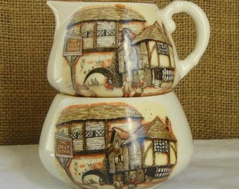 VINTAGE ENGLAND English Transferware Creamer & Sugar By Sandland  LTD Hanley Staffordshire English Set China Scenic Art Transferware China