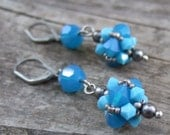 Bright Blue Earrings - Blue Swarovski Crystal Earrings - Beach Jewelry - Rustic Wedding Jewelry - Blue Bridesmaid Gift - Electric Blue