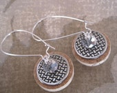 OOAK Wine Cork Earrings Accented with Crystal Rondelles and Silver Beads - Upcycled Wine Cork