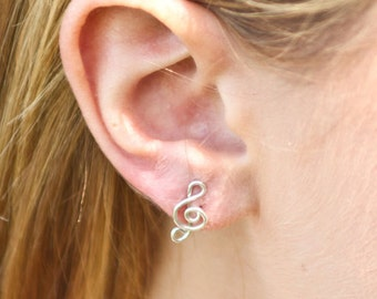 Treble Clef Music Stud Earring in Sterling Silver