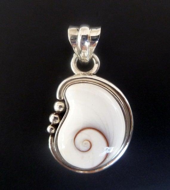 Silver Pendant with Shiva Eye - Handmade Sterling Silver Shell Pendant - White Spiral Shell Pendant  - Custom Made Pendant