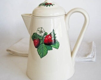 Ceramic Coffeepot Large 10 Cup Country Style Strawberry Pattern Kitchen Decor