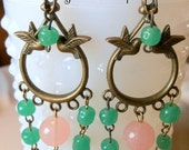 long chandelier earrings....vintage green and pink beads...wire wrapped...romantic....dangle...bird